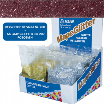 Блестки MapeGlitter 209 цвет розовый производства Mapei весом 100 грамм