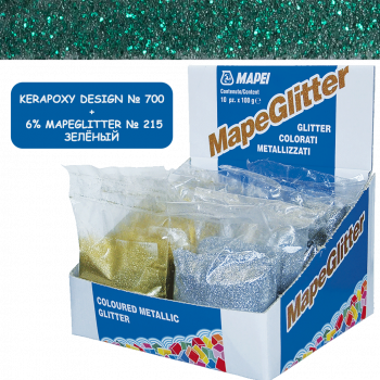 Блестки MapeGlitter 215 цвет зеленый производства Mapei весом 100 грамм