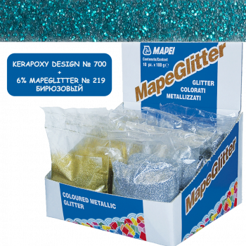 Блестки MapeGlitter 219 цвет бирюзовый производства Mapei весом 100 грамм