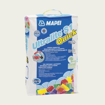 Ultralite S1 QUICK клей для плитки серый производства Mapei весом 15 кг